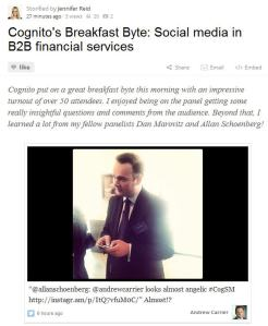 Cognito Breakfast Byte: Social Media in B2B Financial Services